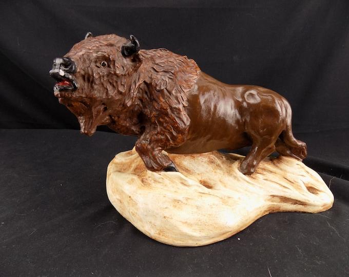 Animal Signed and marked Plastercraft American Buffalo Statue 1976