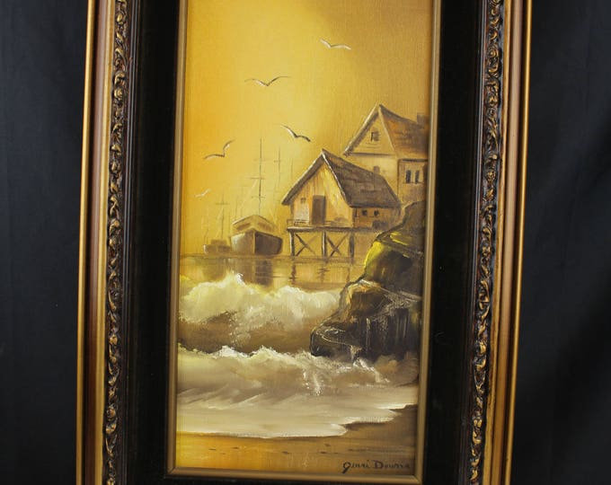 Original Oil on Canvas Painting Seascape, Beach House, Ships, Browns, Jenni Dumas