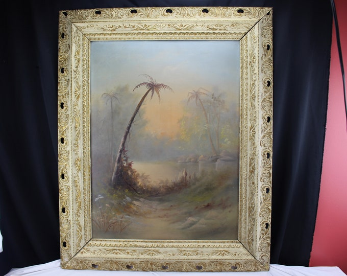 1940,s Original Oil Painting Tropical Palm Tree Sunset/Sunrise Landscape Mrs. Emile Saegret