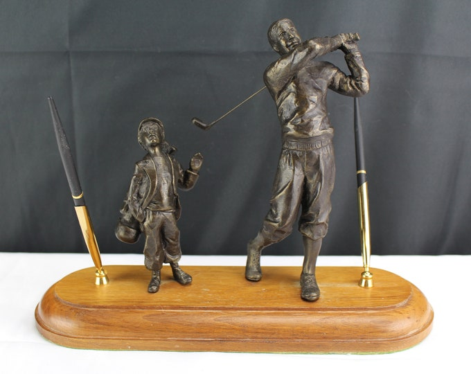 Vintage Desk Pen Holder Figurines Golfer and Boy Caddie Wood Base-Golf Office Decor