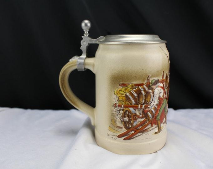 Vintage Pottery ZINN Beer Stein Zinc Hinged Lid German Draft Horses Beer Wagon