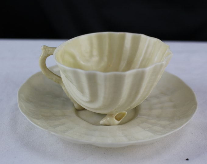 Vintage Sea Shells Belleek China Neptune Pattern Tea Cup and Saucer 1st green Mark 46-55
