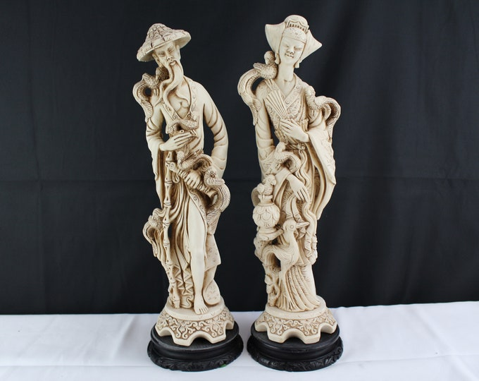 "17"" Mid Century Pair Ardalt Italy Carved Ivory Colored Resin Asian Figurines Couple With Birds"