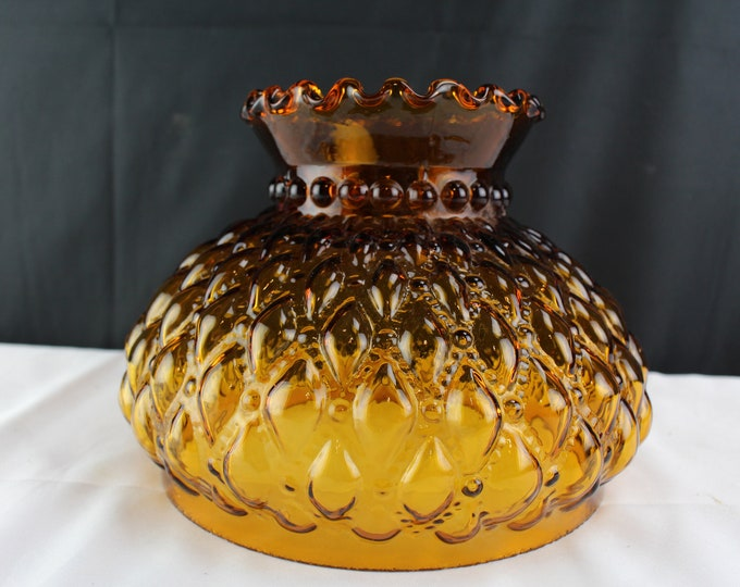 """Mid Century Amber Glass Pillow and Pearls GWTW Lamp/Lantern Shade 8"""" fitter edge"""