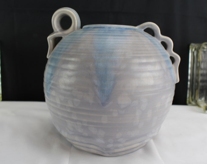 Vintage Thrown Pottery Vase Made in Burnell England Spots on Pale Blue and Gray