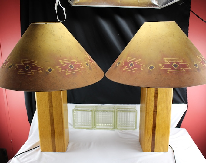Pair of MCM Wood Table Lamps Oak and Walnut Tribal Symbols on Shades Very 70's