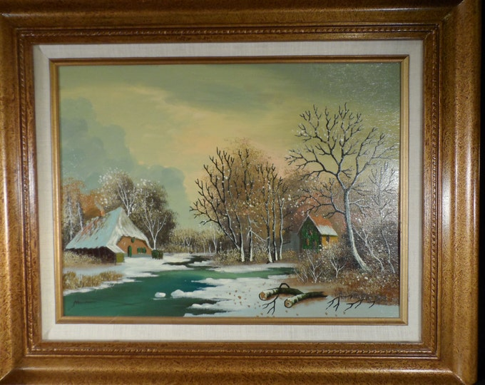 Original Oil Painting Landscape artist Steenman-Winter Scene with Buildings and River