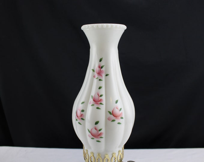 "Vintage Lamp/Light Shade Chimney 3"" fitter Milk Glass Painted Rose Buds Pattern Home Decor Lighting"
