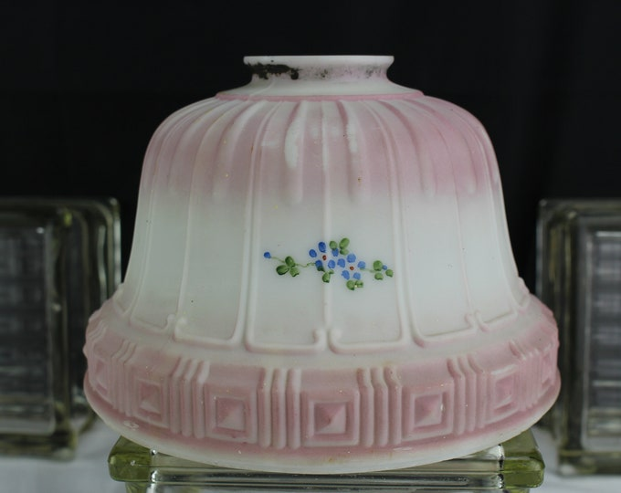 "Antique Light/Lamp Shade White Glass Painted Pink with Flowers 2 1/4"" fitter"