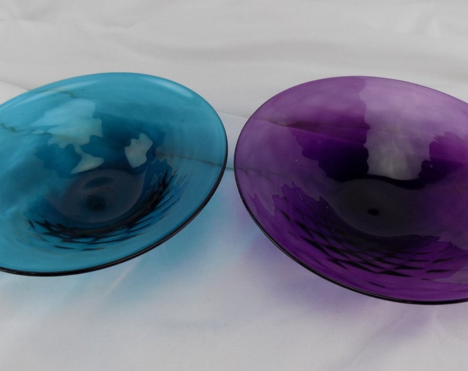 2 Vintage Pierpoint 34% Lead Crystal Bowls, Amethyst Purple & Blue Green, Bowl made in Cape Cod Mass.