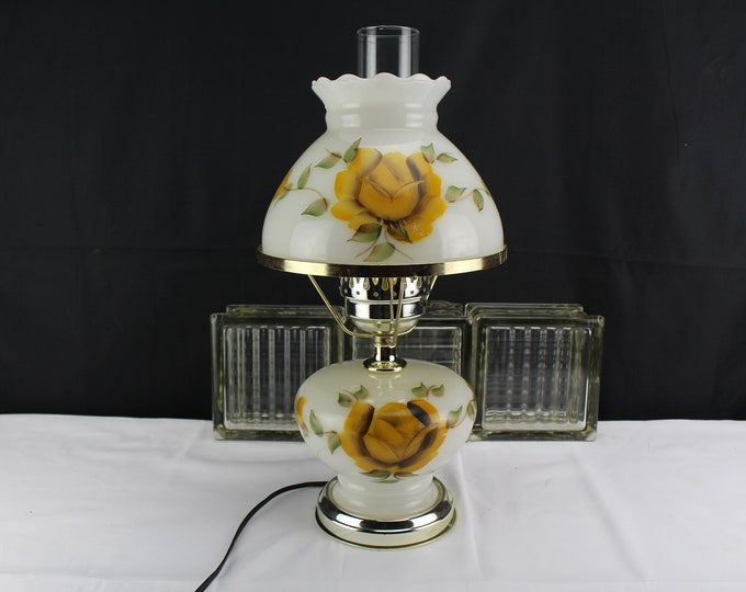 Gone with the Wind Hurricane Glass Lamp Milk Glass Yellow Rose