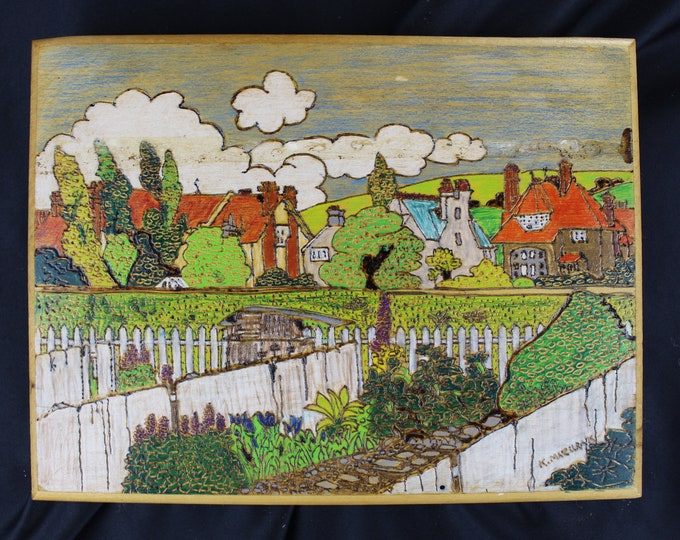 Folk Art K. Mazurak, Pyrography,-Wood Burning and Painting Wall Decor Village Buildings