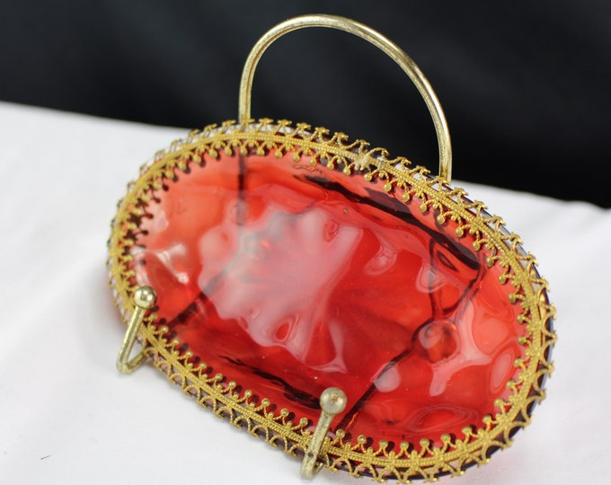 Antique Czech Ruby Red Glass Ring Dish With Filigree Gilt Gold Metal Rim Dressing Table Decor