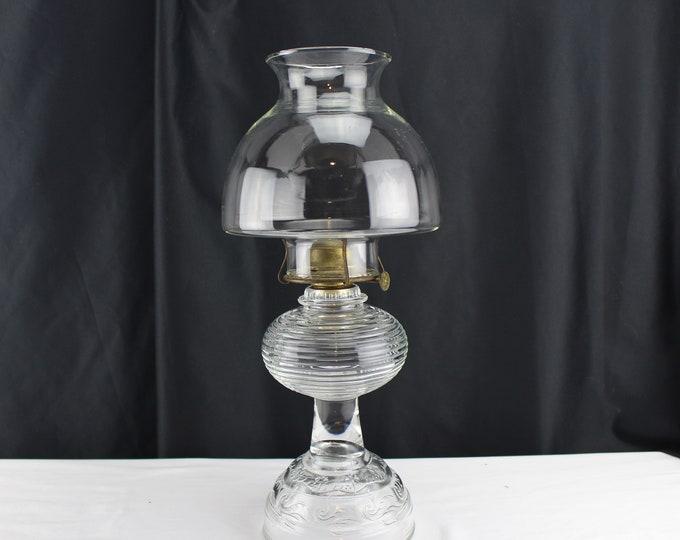 Vintage Clear Glass Oil Lantern Eagle Flip Top Burner Bartlett & Collins-Oil Lamp