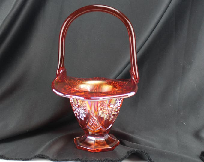 """Vintage Red Starburst Indiana Carnival Glass Basket 10""""-Collectible Home decor"""