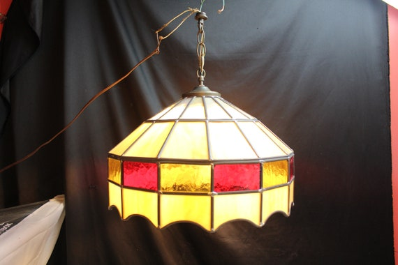 Vintage Tiffany Style Leaded Stained Glass Hanging Light-Lamp | Etsy