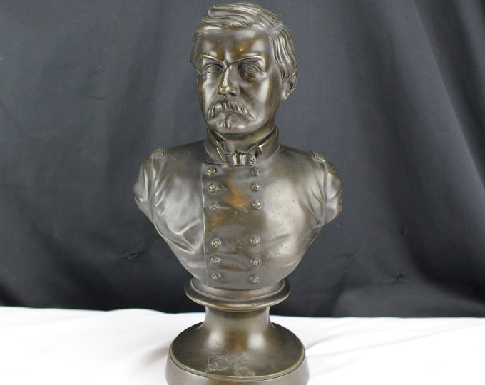 Bronze Bust George B. McClellan 2 Star General Civil War Army of the Potomac, (December 3, 1826 – October 29, 1885)