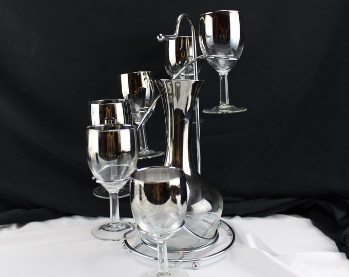 Vintage Mercury Ombre Glass and Decanter set with Chrome Caddy. Mid Century Barware. Vintage bar and home, circa Mad Men