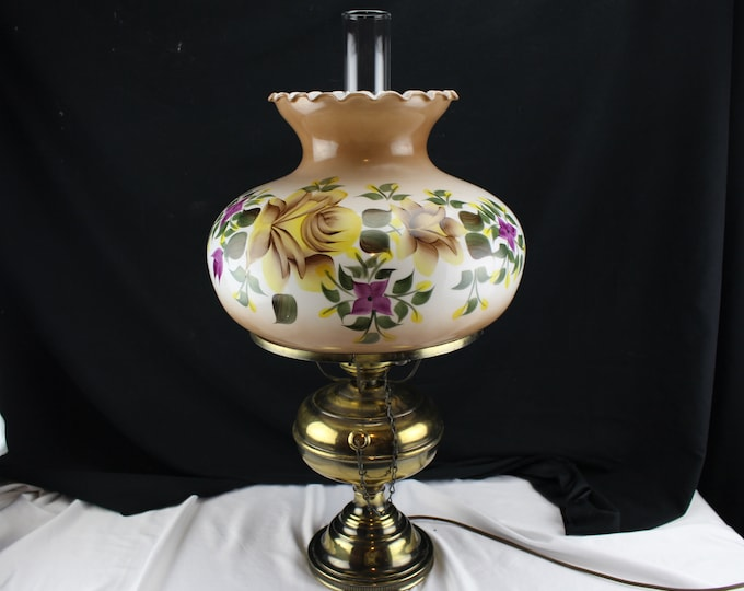 Vintage 70's GWTW Style Electric Table Lamp Brass and Glass with Yellow Roses