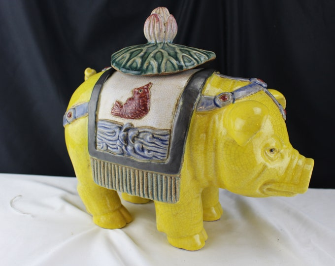 Vintage 1940's Pottery Chinese Large Yellow Pig Incense Burner Pottery