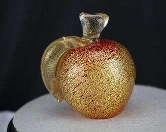 Gambaro & Poggi Murano Art Glass Apple Paperweight Figurine Fall Home Decor