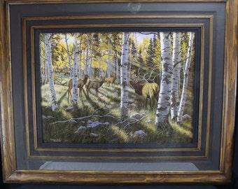 """Fine Art Giclée Print Michael Melander """"Among The Aspen"""" Limited Number Elk Wildlife"""