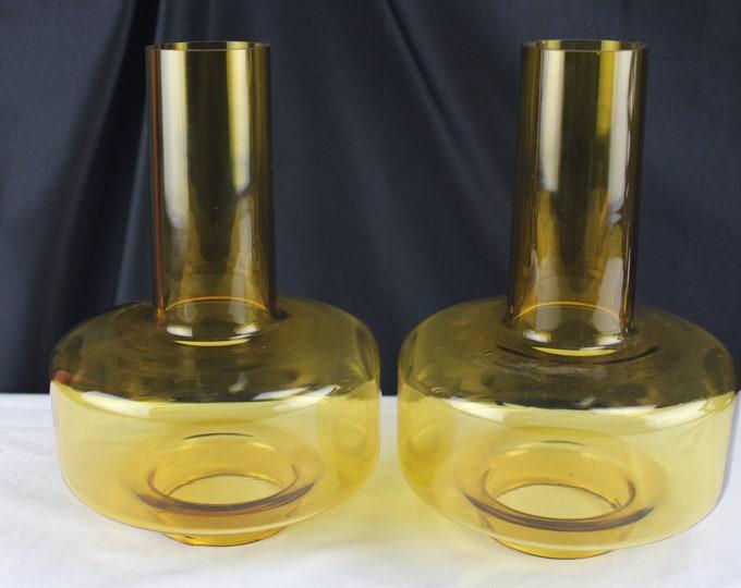 "Amber Glass Chimney 2 7/8"" x 9"" Replacement Kerosene Shade Lamp Parts"