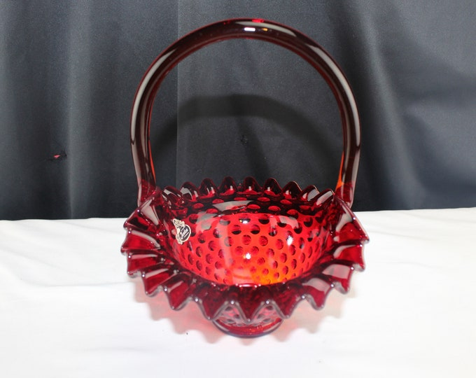 Fenton Glass Ruby Red Hobnail Ruffled Crimped Basket with Label Collectible Home Decor