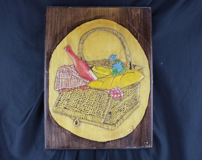 Folk Art K. Mazurak, Pyrography,-Wood Burning and Painting Wall Decor Picnic Basket Bread Wine