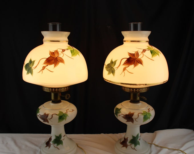 Pair Mid Century Milk Glass GWTW Table Lamps-Student Lamps-Home Decor Lighting