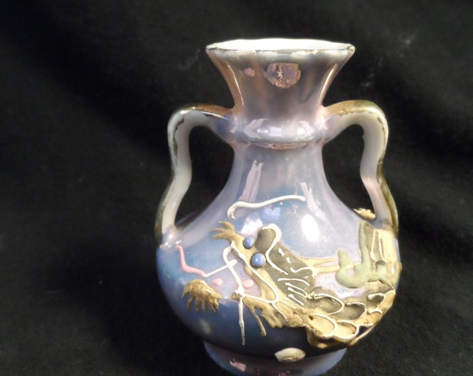 Miniture Vase-Purple With Dragon- Vase Made Exclusively By Bradley of Japan