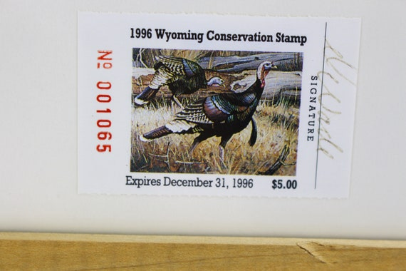 Vintage NWTF Wyoming Conservation Stamp And Print By Dave Wade