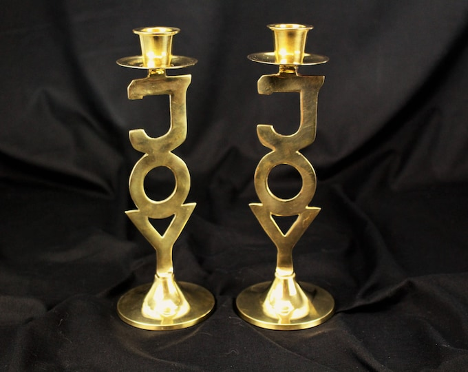 Contemporary-Solid Brass Holiday Joy Candle Holders/Candlesticks ~ International silver company