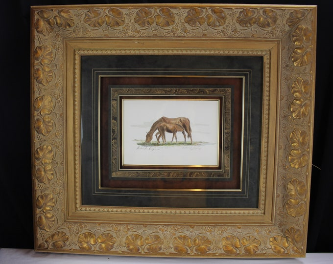 """Giclée Print Mare and Colt """"Lunch Time"""" Horse, Mike S Simpson Designer Frame"""