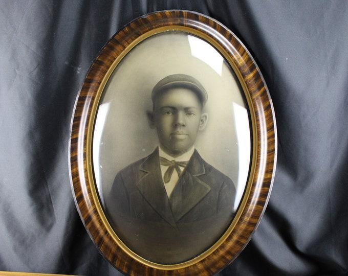 Antique 1890 Oval Bubble Glass Frame African American Boy-Black Americana Rare
