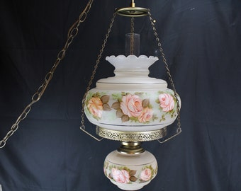 Vintage Hanging Swag Light-Electric Student Lamp-Hand Painted Pink Roses-Home Lighting