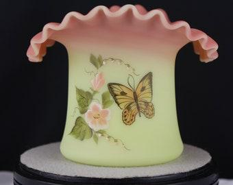 Fenton Art Glass Burmese Top Hat Vase-Butterfly S Jackson-Fagca 1982