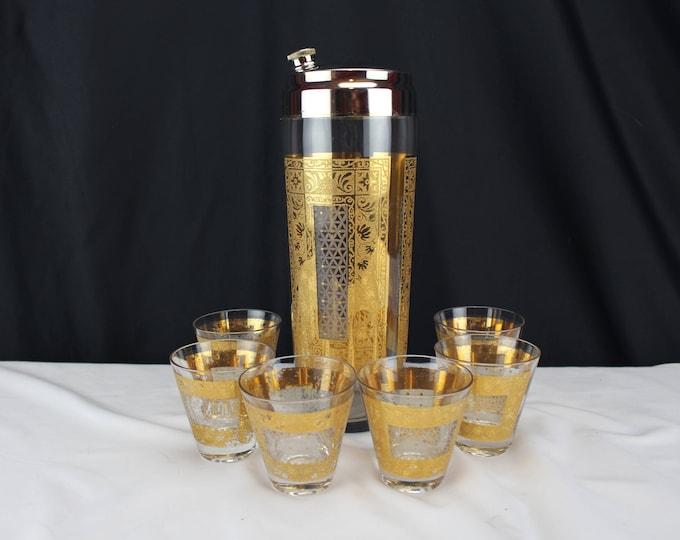 Pasinki Kashmir Mid Century Gold Encrusted Glass Cocktail Shaker Shot Glasses-Barware-Bar ware
