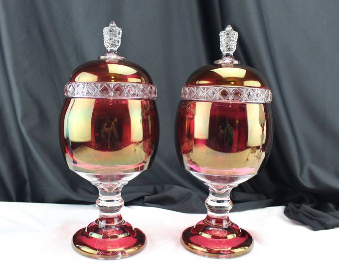 Matching Pair US/Tiffin Glass Mascotte Pattern Ruby Red Flash Stained Lidded Apothecary Jars Glass