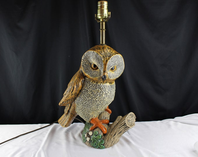 Vintage Ceramic Figurine Table Lamp-Large Owl Sculpture-Home Decor-Lighting-Cabin Decor