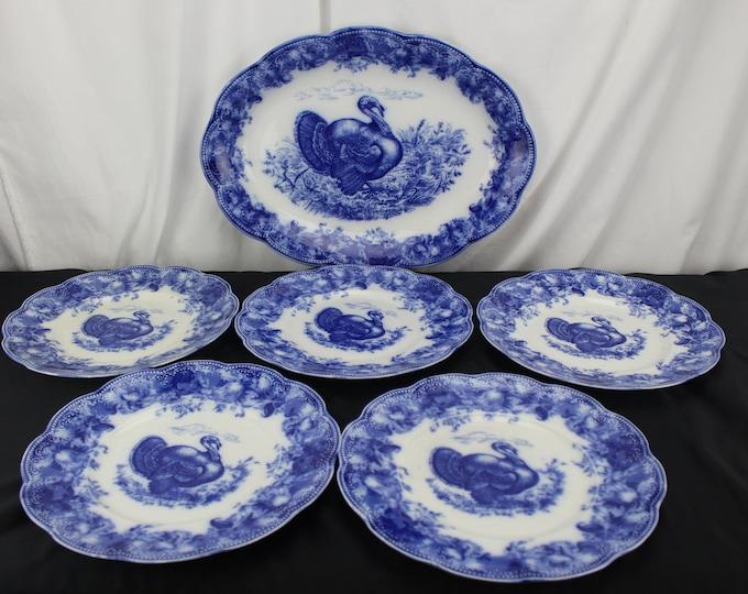 "Vintage Wedgwood Fine China Flow Blue Large 18"" Turkey Platter 5 Dinner Plates Clytie Pattern"