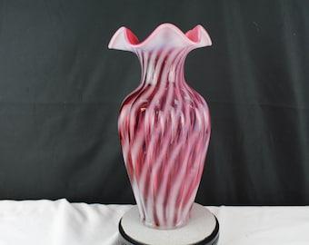 "Fenton Art Glass Cranberry Opalescent 11"" Spiral Optic Melon Vase 1990-1993"