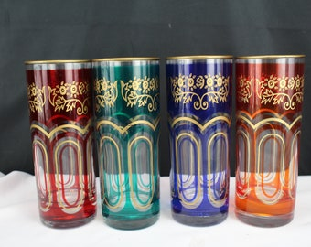 Four Assorted Color Drinking Glasses with Gold Trim Home Kitchen Decor
