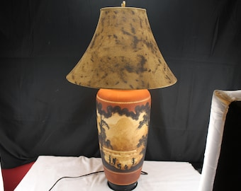 Vintage Pottery Table Lamp-South American Rainforest Hunting Party-Home Lighting