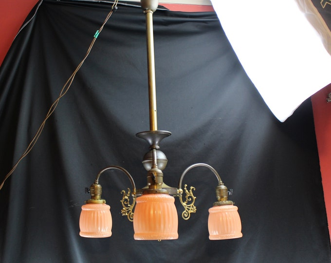 Antique Gas Converted Hanging Light, Brass with Gold Gilt, Satin Glass Shades-Home Lighting Decor
