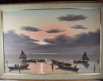Vintage Oil Painting On Canvas Seascape Boats Sunset Asian Large Wall Decor-