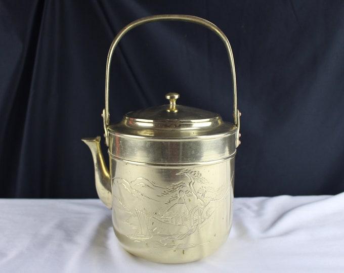 Vintage Brass Tea Kettle Asian Engraving Teapot