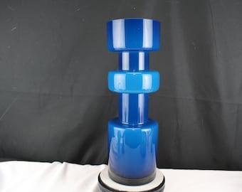 Scandinavian Mid Century Style Indigo Blue Hooped Cased Glass Vase
