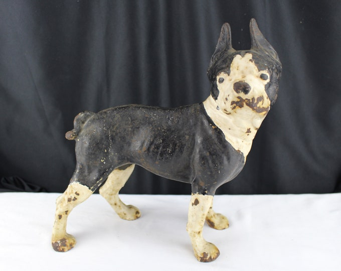 Antique Hubley Cast Iron Doorstop Boston Terrier Black and White Dog Collectible Home Decor