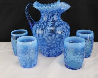 Fenton Art Glass Sapphire Blue Fern and Daisy 5 Piece Water/Pitcher Set 1990's Kitchen Decor